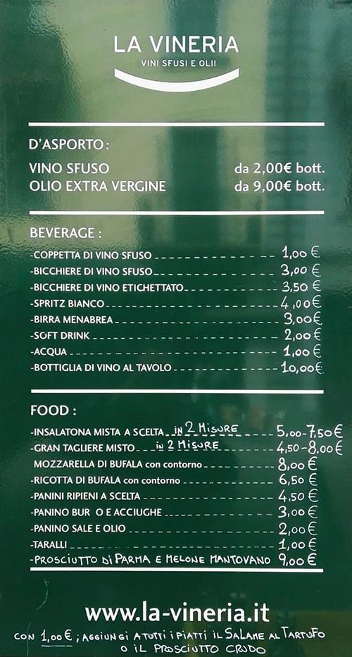 Listino prezzi vineria
